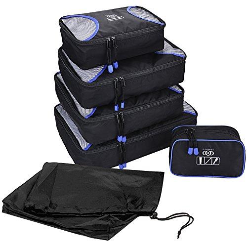 Kleidertaschen Set, Coofit 7-teiliges Packtaschen Wasserdicht Packwürfel Kofferorganizer Set Packing Cubes