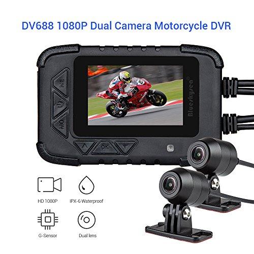 Blueskysea DV688 DVR Dash Cam Moto GPS 1080p Telecamera Anteriore Posteriore Dual Lente Registrazione Fotocamera 2.35' LCD IP67 Impermeabile Screen 130°Night Vision Ultima Versio