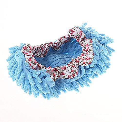 Yiju 8Pairs Chenille Boden Hausschuhe Überschuh Mop Mop Abnehmbare Boden Kehren Hausschuhe-Blau