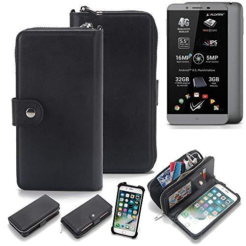 K-S-Trade 2in1 Handyhülle für Allview V2 Viper S Schutzhülle & Portemonnee Schutzhülle Tasche Handytasche Case Etui Geldbörse Wallet Bookstyle Hülle schwarz (1x)