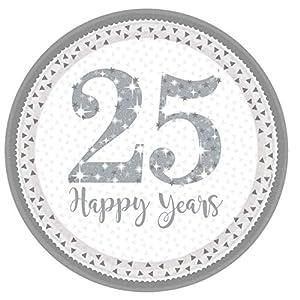 Amscan International-990219923cm brillante plateado aniversario de platos de papel