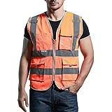 Panegy - Gilet Veste Haute visibilité-Veste Réfléchissante-bandes avec Poches pour Chantier/Construction/Travail à l'extérieur - Orange - Taille L