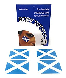 Country Flag Temporary Tattoo Face Sticker Sport Rugby World Cup Olympics Athletics (1 Pack, Scotland)
