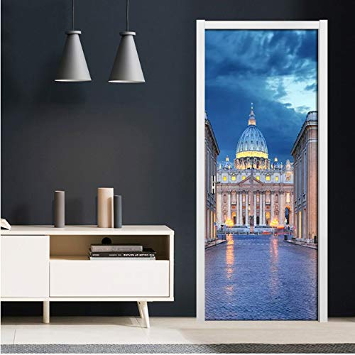 Dajianyihao bella architettura romana castello foto porta adesivo pvc carta da parati autoadesiva per soggiorno camera da letto porta home decor murale 95x215 cm