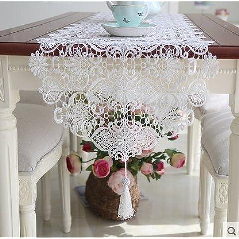 XXTT-Bandera de mesa simple, en forma de corazón estilo mantel camino de mesa de borla de calado encaje mesa mesa de centro de moda , 40*280