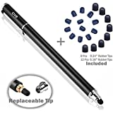 B&D Capacitive Stylus Pen 2-in-1 Styli Touch Screen Pen with 20Pcs Replacement Rubber Tips for iPads, Tablets, iPhones, Samsung Galaxy Note/Tab, LG&HTC(Black, 5.5-inch)