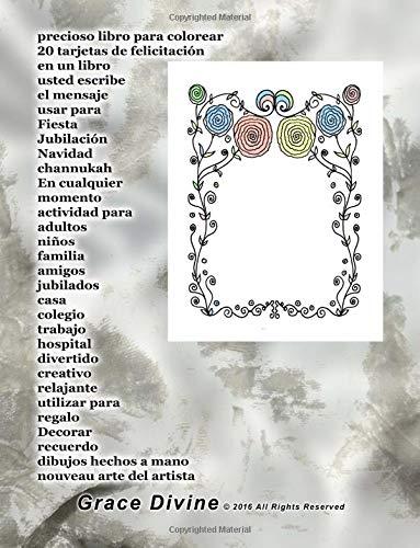 precioso libro para colorear 20 tarjetas de felicitación en un libro usted escribe el mensaje usar para Fiesta Jubilación Navidad channukah En a mano nouveau arte del artista Grace Divine