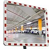 Specchio Stradale Professionale Convesso con Riflettori Parabolico Rettangolare 40 cm x 60 cm