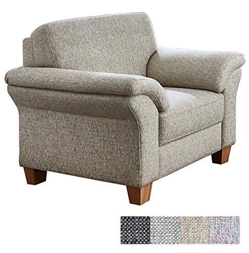 CAVADORE Sessel Baltrum mit Federkern / Großer Sessel im Landhausstil / 101 x 87 x 88 / Strukturstoff Beige