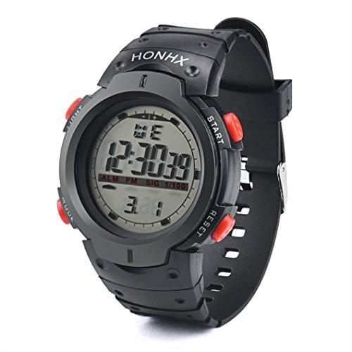 Preisvergleich Produktbild Sansee Wasserdichte Outdoor Herren LED Digital Stoppuhr Datum Gummi Sport Armbanduhr-HONHX elektronische Großbild-Uhren 9040-1 (Rot)