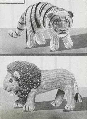 Lion And Tiger Knitting Patterns Vintage Knitting Pattern For Two