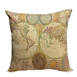 violetpos funda de cojín decorativo sofá cojín funda Auto Fundas de cojín fundas de almohada Retro Mapa del Mundo Navegación Tarjeta Océano tarjeta Mapa