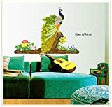 #9: UberLyfe Beautiful Peacock Wall Sticker (Wall Covering Area: 80cm x 120cm) - WS-001362
