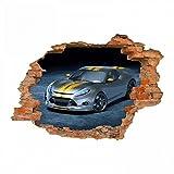 nikima - 108 Wandtattoo Rennwagen Sportwagen silber gelb - Loch in der Wand - in 6 Größen - Coole Kinderzimmer Sticker und Aufkleber abwechsungsreiche Wanddeko Wandbild Junge Mädchen Größe 1250 x 870 mm