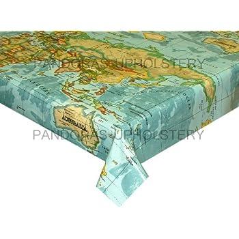 World atlas map on blue wipe clean oilcloth tablecloth 132cm x 1 prestigious textiles designer pvc vinyl fabric wipe clean oilcloth tablecloth atlas world map azure 200cm 79 gumiabroncs Image collections