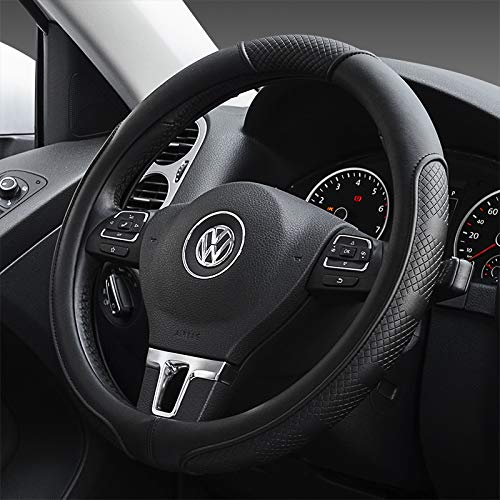 Price comparison product image BauZeit Universal Car Steering Wheel Covers 15 inch / 37-38cm Protector - Microfiber Leather,  Breathable,  Anti Slip Automotive Cover Protection for Auto SUV Vehicles Truck Lorry Van, Black