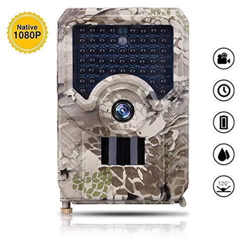 Cámara de caza, 12MP 1080P HD IP56 impermeable caza y vida silvestre DV, temperatura de espera larga detección de visión nocturna invisible hasta 20M, para la seguridad al aire libre y el hogar