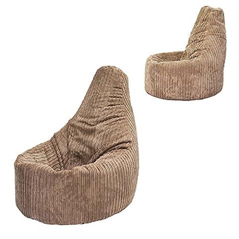 Beanbag Gamer Arm Chair Jumbo Corduroy Mocha Adult GAMING Cord Bean Bag Game Seat POD Bags