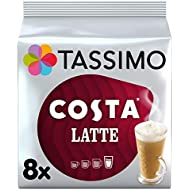 Tassimo Costa Latte Coffee Pods 8 servings  (Pack of 5, Total 80 pods, 40 servings)