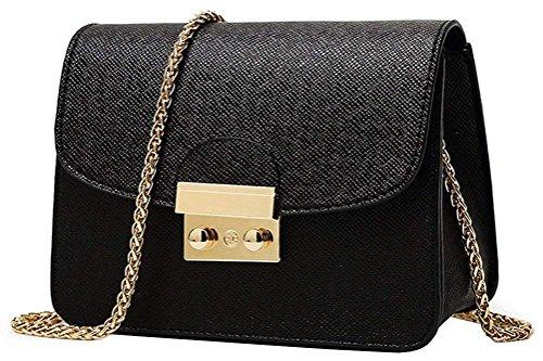 Trayosin Umhängetasche Kleine Damentasche Schultertasche Elegant Vintage Tasche Kette Band(Schwarz) (Bobby Pin Tasche)