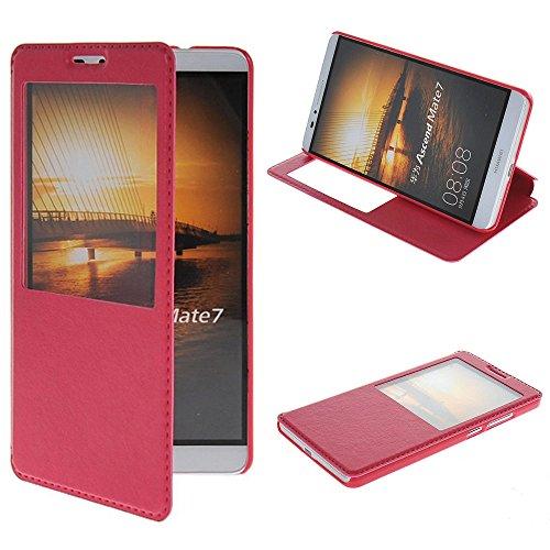 UKDANDANWEI Huawei Ascend Mate 7 [CJ] Case - Magnetisch Leder Tasche Flip Case Cover Schutzhülle Etui Hülle Schale mit Fenster Ansicht Für Huawei Ascend Mate 7 - Rot