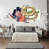 FJLOVE Impresiones de Lienzo Dragon Ball Goku y Dragon Divinegon Juego de 5 combinables Decorativas Póster Wall Art Decoración,Frameless,100x55cm