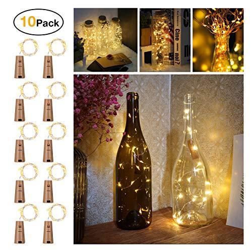 Flaschen Lichter, Sunniu 10 Packungen Kork Kupfer Sternenweinflasche Lichterketten, Batteriebetriebene Warm White Draht Flasche Lichter 2m / 7.2ft