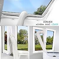 Airlock Pour la fenêtre,Joint de fenêtre pour les climatiseurs portables, Arrêt à l'air chaud, Facile à installer meilleure solution pour ne pas creuser les fenêtres (4M)