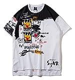 Pizoff Unisex Klassisches Strasse Style Oversized Übergrößes T-Shirt mit tifer Schalternaht Malen und Zeichen Weiß