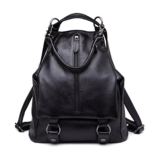 BOYATU Echtes Leder Rucksack für Frauen Geldbörse Damen Daypacks Schultertasche (Schwarz) (Echtes Handtasche Leder Sling)