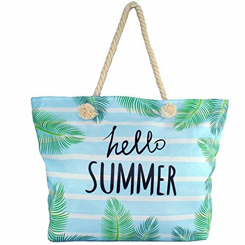 MC-Trend Große Strandtasche mit Reißverschluss Seile Taue als Trageriemen Damen Shopper Tasche Schultertasche für Strand Pool Schwimmbad Shopping (hello Summer blau)