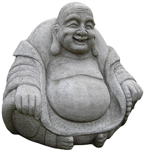 Statue Buddha Happy Outdoor (Garden Ornaments von Zinn onefold BU10GIANT Happy Stein BUDDHA STATUE, grau, 49x 60x 61cm)