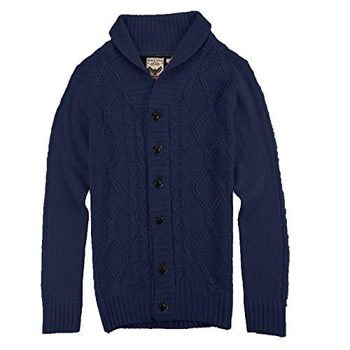 Brave Soul Cardigan tricoté pour Pull et Cardigan pour châle Gris - Bleu marine