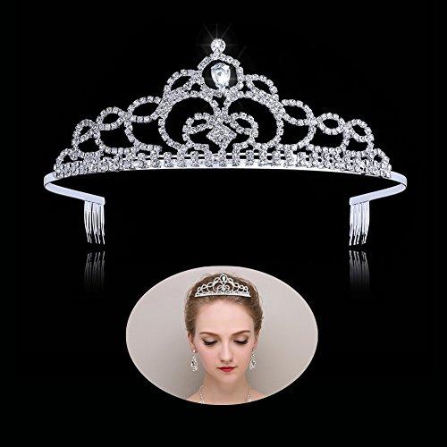 Tiaras und Kronen für Frauen und Mädchen, Prinzessinnen-Diadem, mit Kamm, für Hochzeit, Brautgeburtstag, Tiara, Krone und Stirnband für Partys
