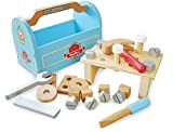 Indigo Jamm Little Carpenters Toolbox, Pretend Play Wooden Toy Tools, Hammer, Screwdriver, Spanner, Ruler and 21 Building Pieces