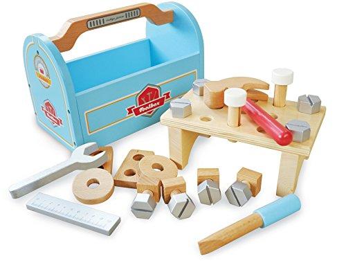 Indigo Jamm Little Schreiner, Holz Toolbox Spielzeug, komplett mit 4Werkzeuge & 21-teilig