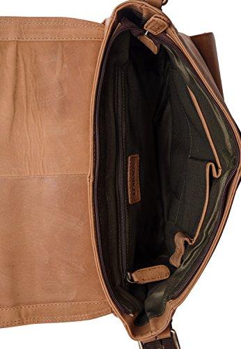 LEABAGS Birmingham Umhängetasche aus echtem Büffel-Leder im Vintage Look - Muskat Braun