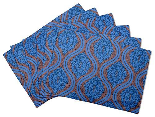 S4Sassy Marron Floral Damasse Set de Table réversible Tapis de Table réversible-16 x 18 Pouces-6 pièces