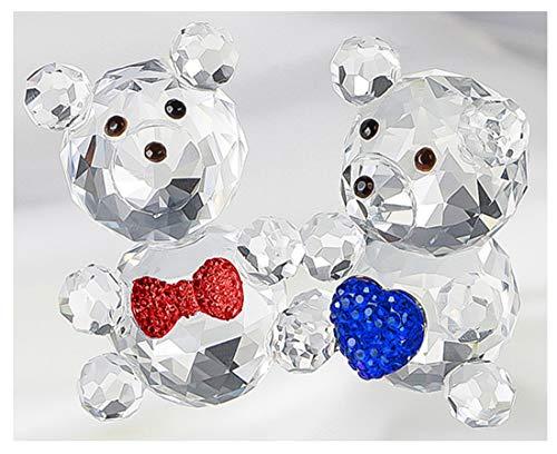 H&D 2 Kristall Baby Bär Figur Sammlung Briefbeschwerer Tisch Mittelpunkt Gläser Sammlung