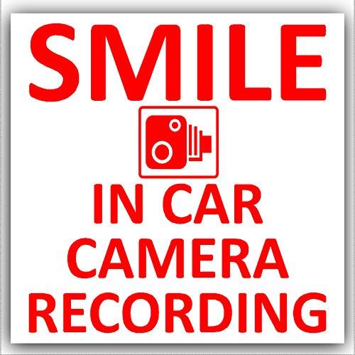 1 x KFZ Kamera Aufzeichnung Sticker-Design 2, Rot/Weiß, CCTV