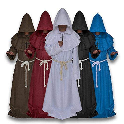 Amosfun Medieval Priest Wizard Robe Hooded Cap Halloween Cosplay Costume Cloak Monk Sorcerer
