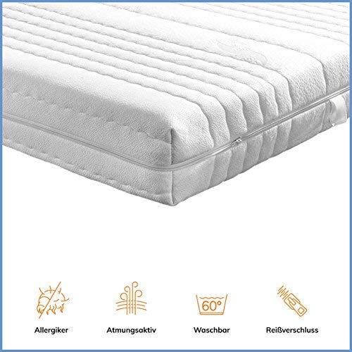 Ravensberger Matratzen® Baumwoll-Doppeltuch-Bezug mit 4-seitigem Reißverschluss geeignet für Kernhöhe 14-16 cm Matratzenbezug 90 x 200 cm