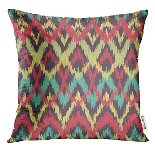 Throw Pillow Cover Native Ikat Ethnic Pattern Aztec Indian American Apache Decorative Pillow Case Home Decor Square 18x18 Inches Pillowcase Ikat Sari