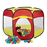Relaxdays 201 tlg. Bällebad Set, Bällepool Zelt, als Pop up Spielzelt, 200 Soft Bälle, für Kinder ab 3 Jahre, Bunt