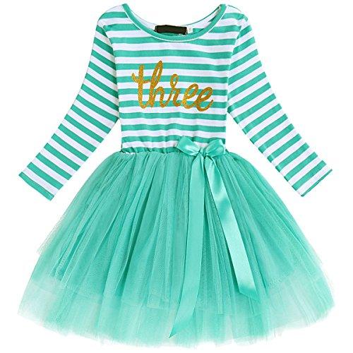 Neugeborene Säuglings Kleinkind Baby Mädchen Ist es Mein 1. / 2. / 3. Geburtstags Gestreiften Tüll Tütü Prinzessin Kleid mit Bowknot Partykleid Fotoshooting Outfits Kostüm Türkis