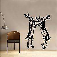 Kult Kanvas Hares Boxing Farmhouse Shabby Chic Vintage Wall Sticker Art SC016 (60cm x 82cm)