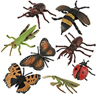Hztyyier 8pcs Miniature Insect Toys & Fake Bugs, Mini Bug Insect Toys Figures, Plastic 3D Insect Model Kit Baby Kids Educational Toys Photography Props