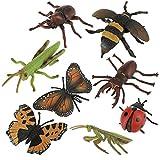 Zerodis 8 Pcs/Set Mini Insectes Artificiels Multicolore en PVC 3D Réalistes Bugs Modèle Animal Kit Jouet Éducatif Abeilles, Papillon, Mantis, Coccinelle Props de Photographie