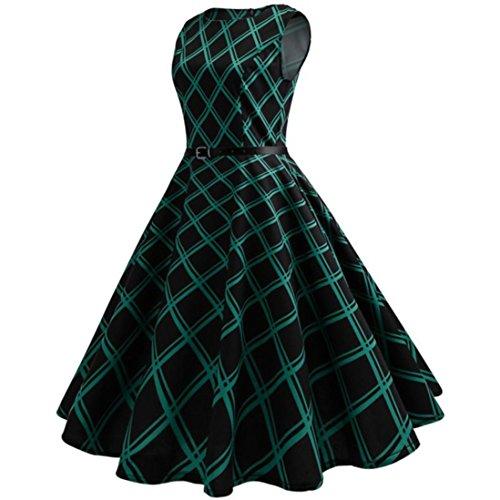 Ba Zha Hei  Damen Kleid weiblich Jahrgang Hepburn Drucken Gitter Taille Großes Pendel Kleid Elegant...