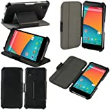 LG Nexus 5 (Wifi / LTE / 4G / 3G) Tasche Leder Hülle Schwarz Cover mit Stand - Zubehör Etui Google LG Nexus 5 8/16/32/64 Gb Flip Case Schutzhülle (PU Leder, Handytasche Schwarz) - Vorbestellen - XEPTIO accessoires